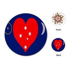 Love Heart Star Circle Polka Moon Red Blue White Playing Cards (round)  by Mariart
