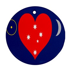 Love Heart Star Circle Polka Moon Red Blue White Round Ornament (two Sides) by Mariart