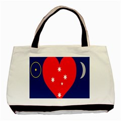 Love Heart Star Circle Polka Moon Red Blue White Basic Tote Bag (two Sides) by Mariart