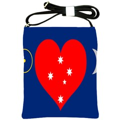 Love Heart Star Circle Polka Moon Red Blue White Shoulder Sling Bags by Mariart