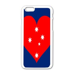 Love Heart Star Circle Polka Moon Red Blue White Apple Iphone 6/6s White Enamel Case by Mariart