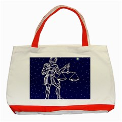 Libra Zodiac Star Classic Tote Bag (red) by Mariart