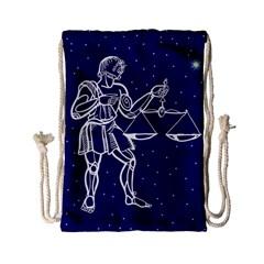 Libra Zodiac Star Drawstring Bag (small) by Mariart