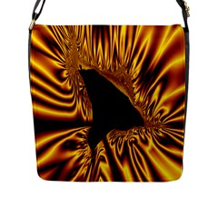 Hole Gold Black Space Flap Messenger Bag (L)