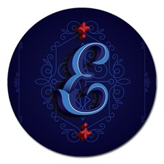 Marquis Love Dope Lettering Blue Red Alphabet E Magnet 5  (round) by Mariart