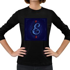 Marquis Love Dope Lettering Blue Red Alphabet E Women s Long Sleeve Dark T Shirts by Mariart