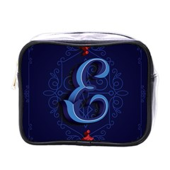 Marquis Love Dope Lettering Blue Red Alphabet E Mini Toiletries Bags by Mariart