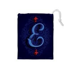 Marquis Love Dope Lettering Blue Red Alphabet E Drawstring Pouches (medium)  by Mariart