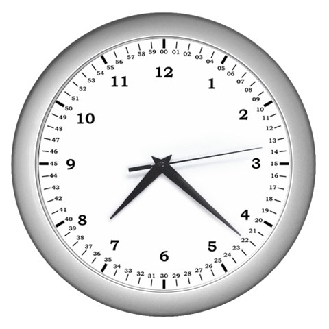 The Learning Clock By Joe American   Wall Clock (silver)   N0myvdvn1ql6   Www Artscow Com Front