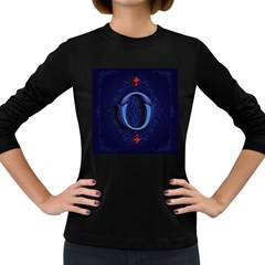 Marquis Love Dope Lettering Blue Red Alphabet O Women s Long Sleeve Dark T Shirts by Mariart