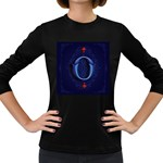 Marquis Love Dope Lettering Blue Red Alphabet O Women s Long Sleeve Dark T-Shirts Front