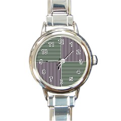 Mccollough Test Image Colour Effec Line Round Italian Charm Watch by Mariart