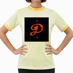 Marquis Love Dope Lettering Blue Red Orange Alphabet P Women s Fitted Ringer T Shirts by Mariart