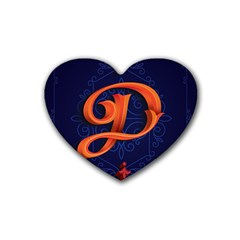 Marquis Love Dope Lettering Blue Red Orange Alphabet P Rubber Coaster (heart)  by Mariart