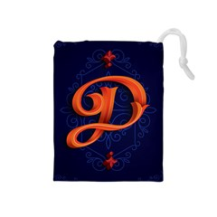 Marquis Love Dope Lettering Blue Red Orange Alphabet P Drawstring Pouches (medium)  by Mariart