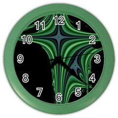 Line Light Star Green Black Space Color Wall Clocks by Mariart