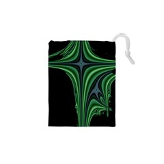 Line Light Star Green Black Space Drawstring Pouches (xs)  by Mariart