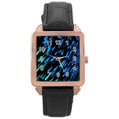 Meteor Rain Water Blue Sky Black Green Rose Gold Leather Watch  by Mariart