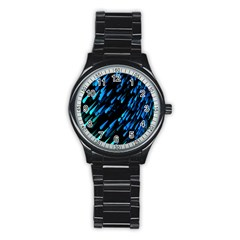 Meteor Rain Water Blue Sky Black Green Stainless Steel Round Watch by Mariart