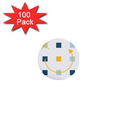 Plaid Arrow Yellow Blue Key 1  Mini Buttons (100 Pack)  by Mariart