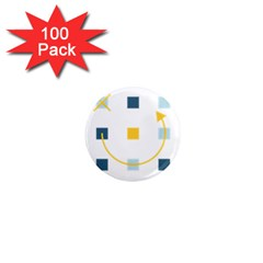 Plaid Arrow Yellow Blue Key 1  Mini Magnets (100 Pack)  by Mariart