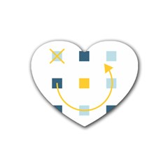 Plaid Arrow Yellow Blue Key Heart Coaster (4 Pack)  by Mariart