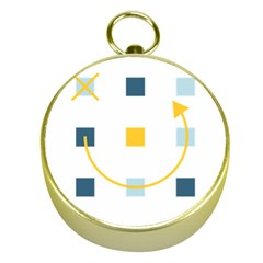 Plaid Arrow Yellow Blue Key Gold Compasses by Mariart