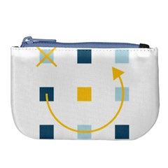 Plaid Arrow Yellow Blue Key Large Coin Purse by Mariart