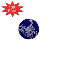 Pisces Zodiac Star 1  Mini Magnets (100 Pack)  by Mariart