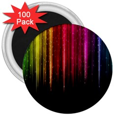 Rain Color Rainbow Line Light Green Red Blue Gold 3  Magnets (100 Pack) by Mariart