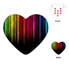 Rain Color Rainbow Line Light Green Red Blue Gold Playing Cards (heart)