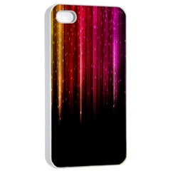 Rain Color Rainbow Line Light Green Red Blue Gold Apple Iphone 4/4s Seamless Case (white) by Mariart