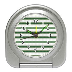 Plaid Line Green Line Horizontal Travel Alarm Clocks by Mariart