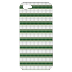Plaid Line Green Line Horizontal Apple Iphone 5 Hardshell Case by Mariart