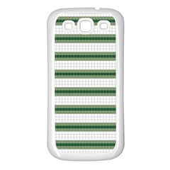 Plaid Line Green Line Horizontal Samsung Galaxy S3 Back Case (white) by Mariart