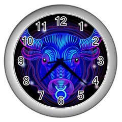 Sign Taurus Zodiac Wall Clocks (silver)  by Mariart