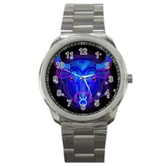 Sign Taurus Zodiac Sport Metal Watch by Mariart