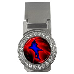 Space Red Blue Black Line Light Money Clips (cz)  by Mariart