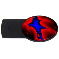 Space Red Blue Black Line Light Usb Flash Drive Oval (2 Gb) by Mariart