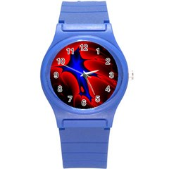 Space Red Blue Black Line Light Round Plastic Sport Watch (s) by Mariart