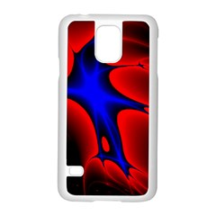 Space Red Blue Black Line Light Samsung Galaxy S5 Case (white) by Mariart