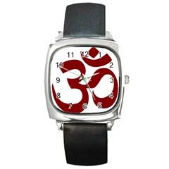 Hindu Om Symbol (dark Red) Square Metal Watch by abbeyz71