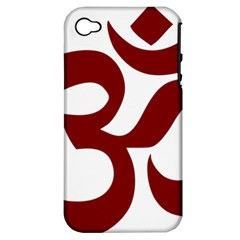 Hindu Om Symbol (dark Red) Apple Iphone 4/4s Hardshell Case (pc+silicone) by abbeyz71