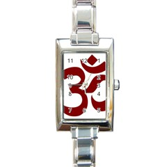 Hindu Om Symbol (dark Red) Rectangle Italian Charm Watch by abbeyz71