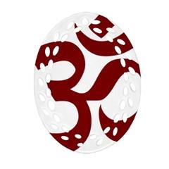 Hindu Om Symbol (dark Red) Oval Filigree Ornament (two Sides) by abbeyz71
