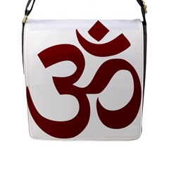 Hindu Om Symbol (Dark Red) Flap Messenger Bag (L)