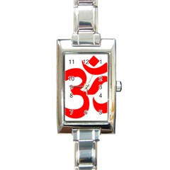 Hindu Om Symbol (red) Rectangle Italian Charm Watch by abbeyz71