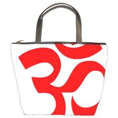 Hindu Om Symbol (red) Bucket Bags by abbeyz71