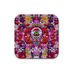 Hawaiian Poi Cartoon Dog Rubber Coaster (square)  by pepitasart