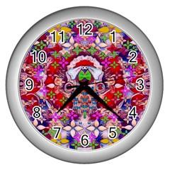 Hawaiian Poi Cartoon Dog Wall Clocks (silver)  by pepitasart